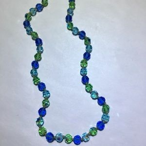 Vintage blue & green beaded crystal necklace